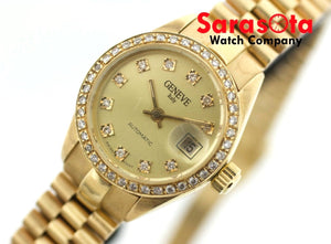 Geneve ITALY Champagne Diamond Dial/Bezel 14K Yellow Gold Automatic Womens Watch