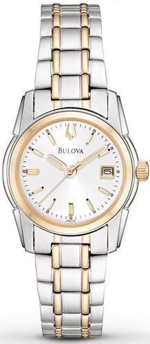 Bulova 98M105 Silver Sunray Dial Two Tone Stainless Steel Quartz Women's Watch