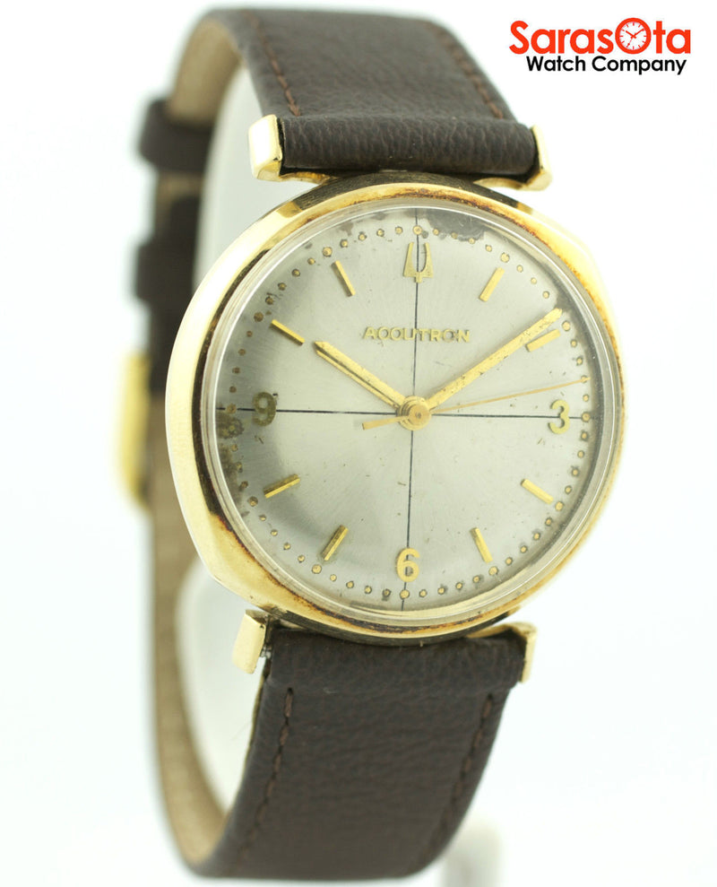 Vintage Accutron Tuning Fork 14k Gold Case Brown Leather Dress Men's Watch