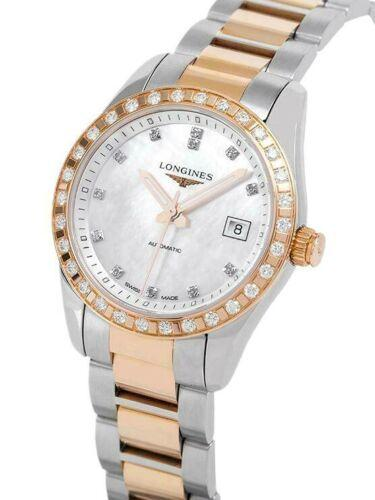 Longines L2.285.5.88.7 Conquest Classic Steel Rose Gold Diamond Women's Watch - Sarasota Watch Company