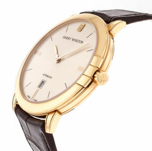 NEW! Harry Winston Midnight 42mm Champagne Dial 18k Rose Gold Automatic Men's Watch