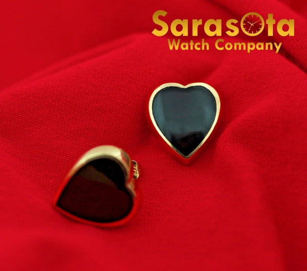 14K Yellow Gold Black Onyx Heart Shape Stud's Push Back Post Women's Earring's