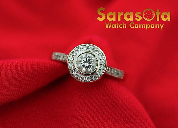 14K White Gold 1.10ct. Diamond H/VS1 Single Halo Engagement Ring Size 6.75