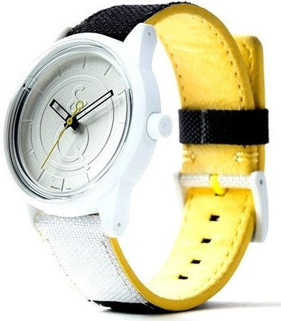 Q&Q RP00J0010Y Silver Dial Solar Powered Polyurethane Strap White Unisex Watch