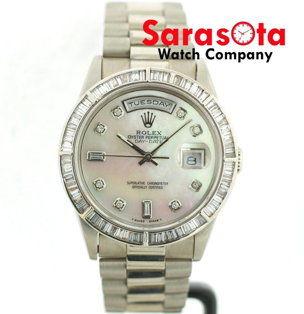 Rolex Day-Date 18239 MOP Diamond Dial 18KWG Double-Quick Auto 1989 Wrist Watch