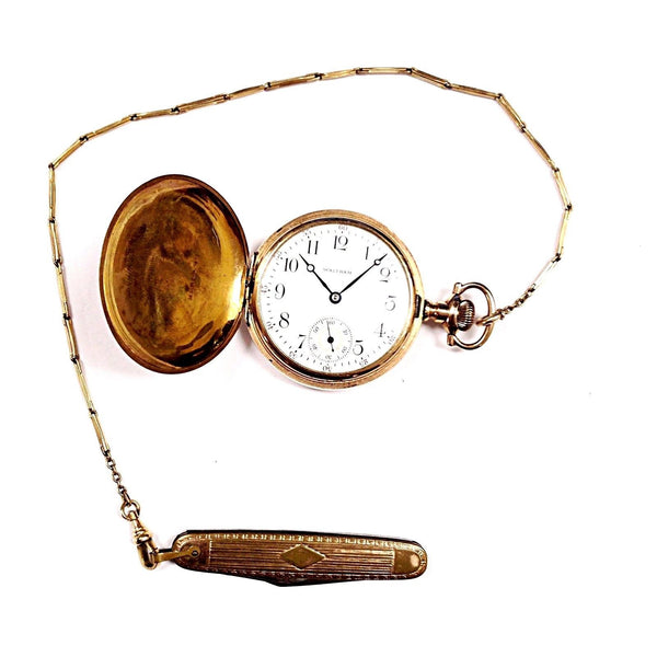 Vintage Waltham 17 Jewels Hunter Adjusted Size 16 Chain & Knife Pocket Watch