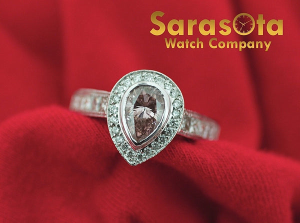 14k White Gold 2ct. Pear Shape Pink Diamond H/VS Halo Engagement Ring Size 7