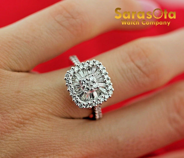 14k White Gold 1.33Ct Baguette&Round  Diamond Halo Women's Ring Size 6