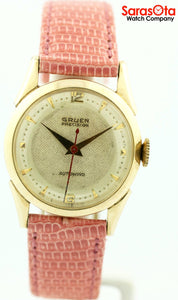 Vintage Gruen Precision Automatic 10k Gold Filled Leather Band Women's Watch