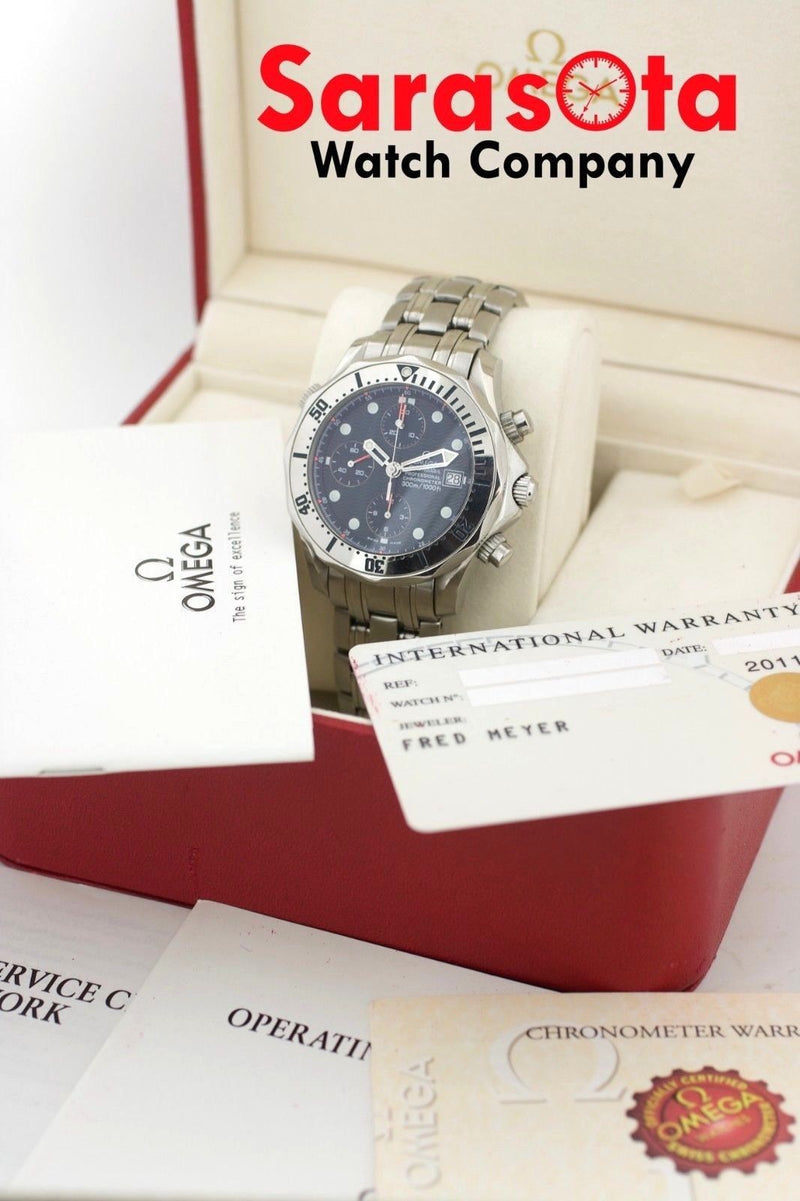 Omega Seamaster Pro Blue Wave Dial Stainless Chronograph Auto Men's Watch W/B/P