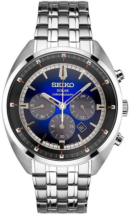 Seiko ReCraft SSC567 Blue/Gray Dial Chronograph Stainless Steel Solar Mens Watch - Sarasota Watch Company