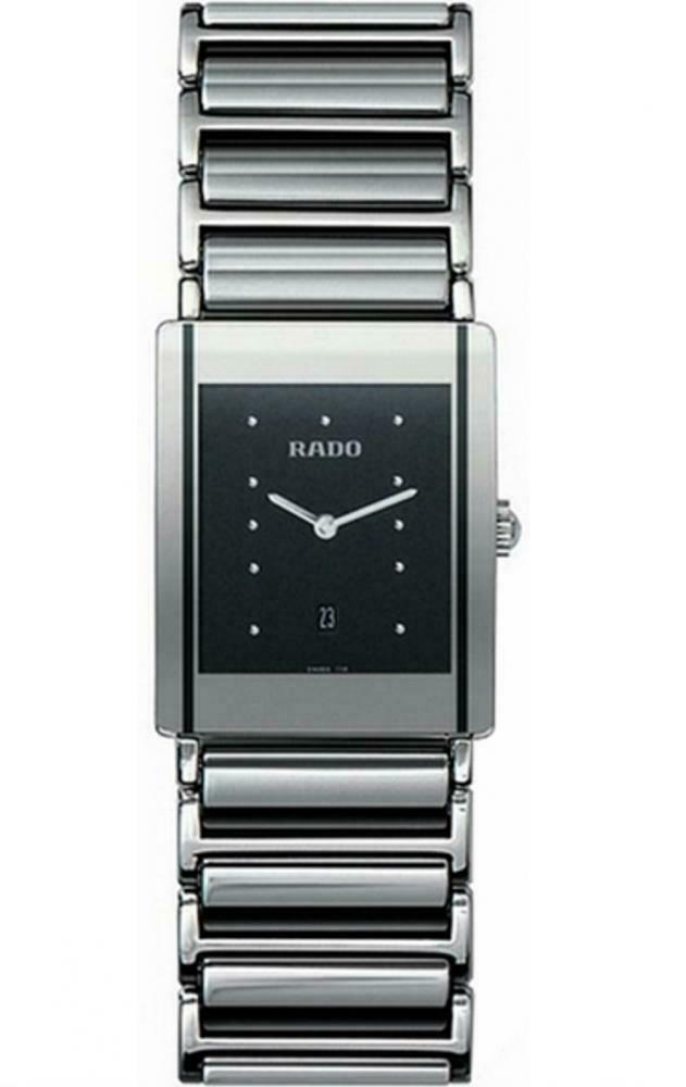 Rado Jubile R20484172 Steel Gray Ceramic Black Dial Rectangle Quartz Men's Watch - Sarasota Watch Company