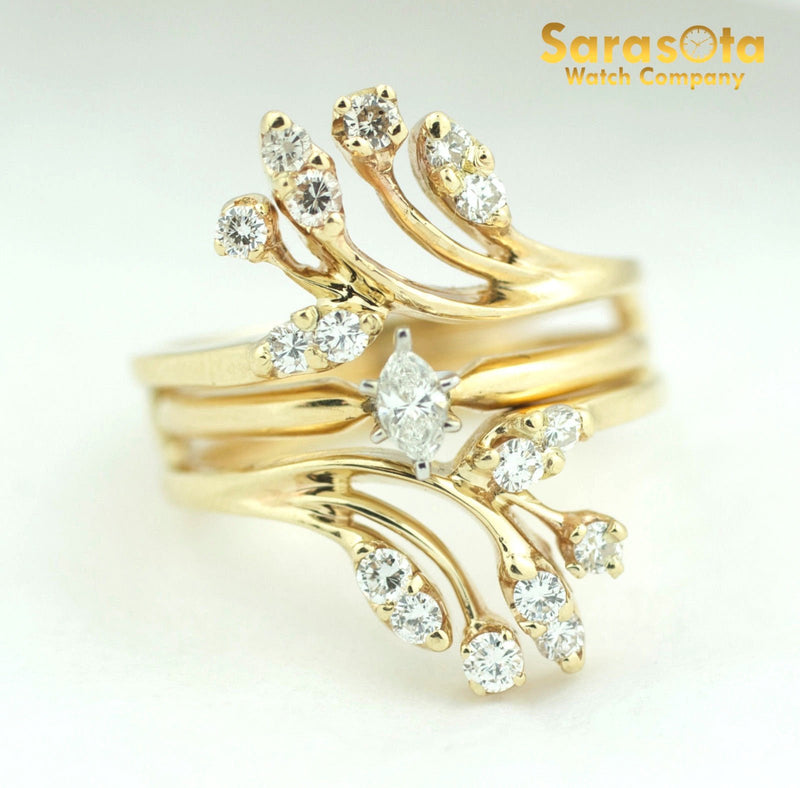 14K Yellow Gold 0.65Ct H/SI2 Cluster Removable Ring Women's Ring Size 6 - Sarasota Watch Company