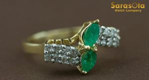 14K Yellow Gold Emerald/Diamond 0.50Ct I/I1 Cocktail Women's Ring Size 8.25 - Sarasota Watch Company