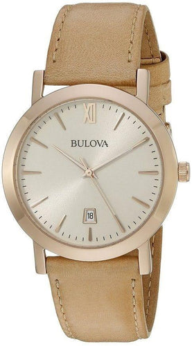 Bulova 97B144 Rose Gold Tone Steel Ivory Dial Beige Leather Quartz Men's Watch