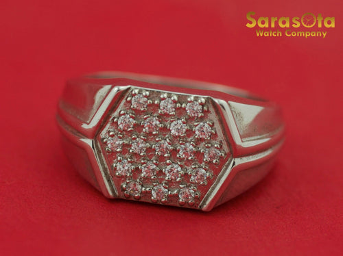 14K White Gold Cubic Zirconia Cluster Gorgeous Gift Men's Ring Size 9 - Sarasota Watch Company