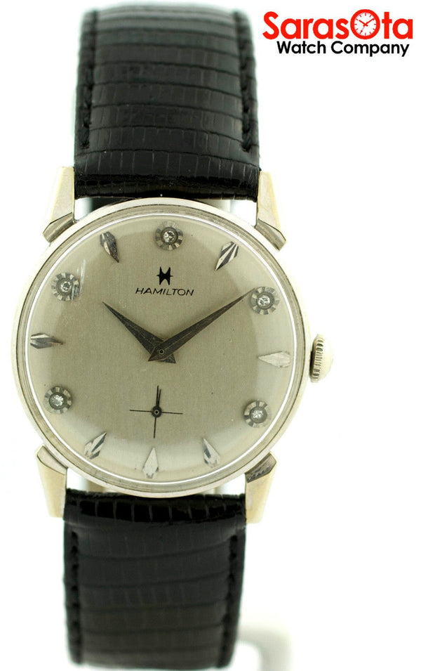 Vintage Hamilton 14K White Gold Case Diamond Dial Dress Men's Variation Watch