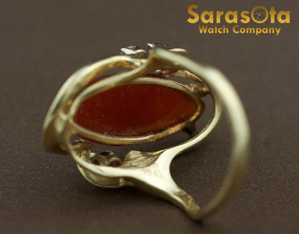 14K Yellow Gold Carnelian/Citrine/Diamond Solitaire Accented Women's Ring Size 6 - Sarasota Watch Company