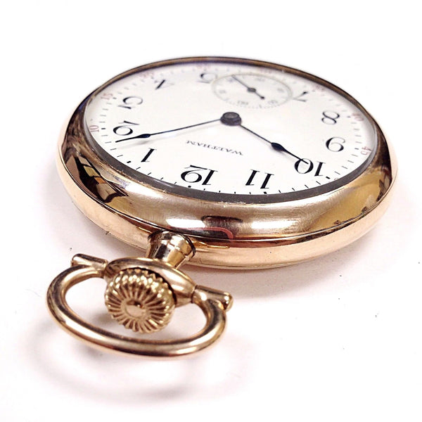 Vintage Waltham Open Face Size 16 60 Min. Register Gold Tone Pocket Watch