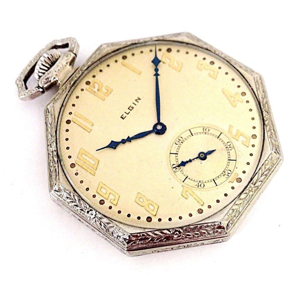 Vintage Elgin 10k White Gold Filled Octagon Size 12 Open Face Pocket Watch