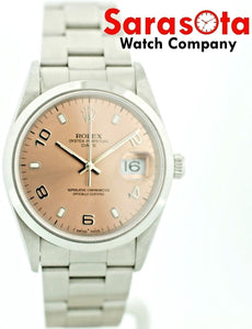 Rolex Date 15200 34mm Salmon Dial Stainless Steel Automatic Unisex Watch