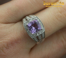 14K White Gold Amethyst/Diamond 0.75Ct I/I1 Cocktail Women's Ring Size 6.75 - Sarasota Watch Company