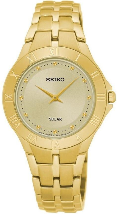 Seiko SUP310 Champagne Dial Gold Tone Stainless Steel Solar Quartz Women's Watch - Sarasota Watch Company