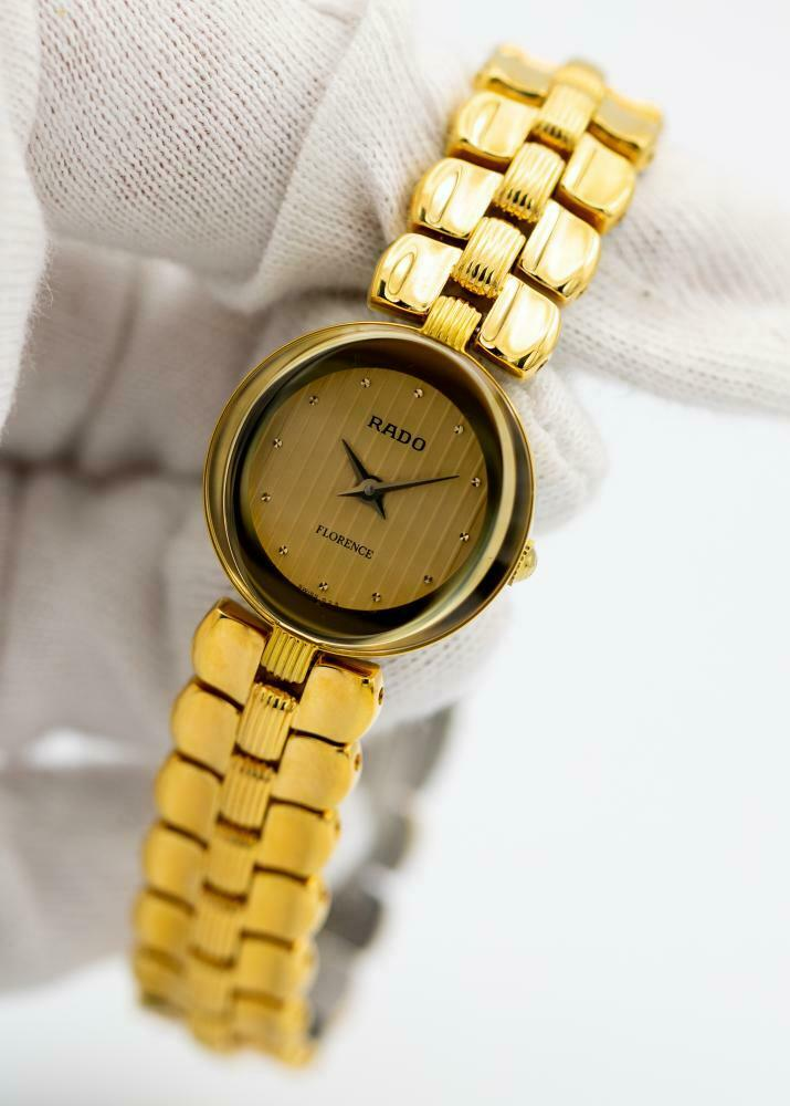 Rado Florence R18602703 Gold Plated Steel 23mm Oval Quartz Women's Watch - Sarasota Watch Company