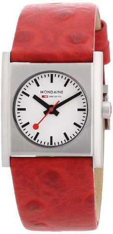 Mondaine A658.30320.26SBC White Dial Steel Red Leather Quartz Women's Watch