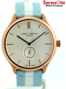 Lars Larsen Simon 122RBCN Bright Cloud Nato Nylon Rose Gold Tone Men's Watch