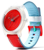 Q&Q RP00J0011Y Red Dial Solar Powered PET Fabric Strap Grey Unisex Watch