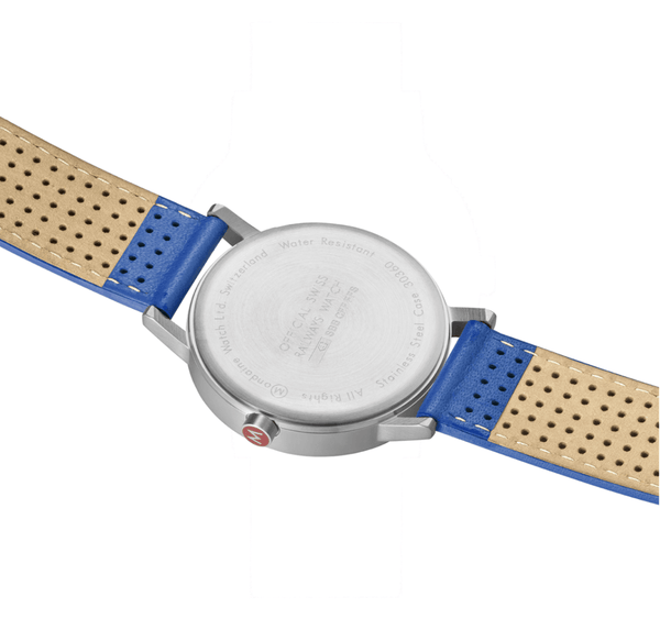 Mondaine A660.30360.16SBD Blue Leather Stainless White Dial Quartz Wrist Watch
