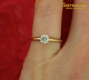 14K Yellow Gold 0.40 Ct Round Brilliant Diamond Solitaire Women's Ring Size 4.25 - Sarasota Watch Company