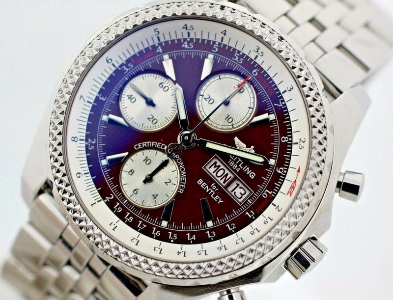 Breitling Bentley GT A13362 Chrono 45mm Burgundy Steel Automatic Men's Watch