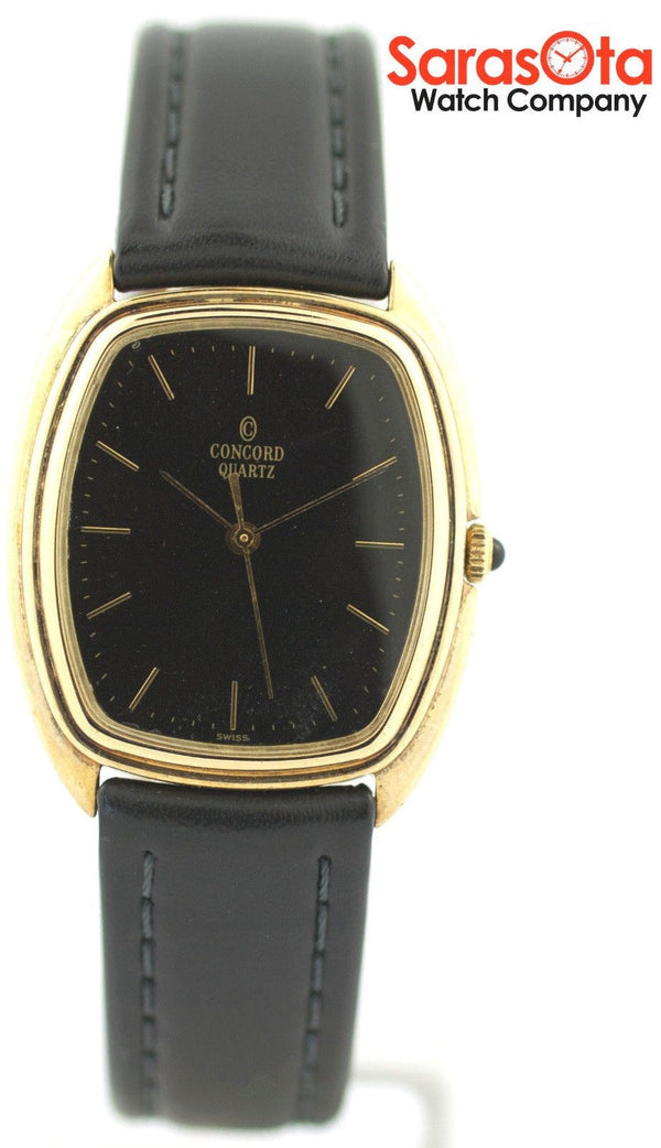 Concord 18K Yellow Gold Case Black Dial Leather Swiss Quartz Dress Men's Watch