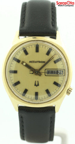 Vintage Accutron Day/Date 14K Gold Filled Black Leather Dress Men's Watch