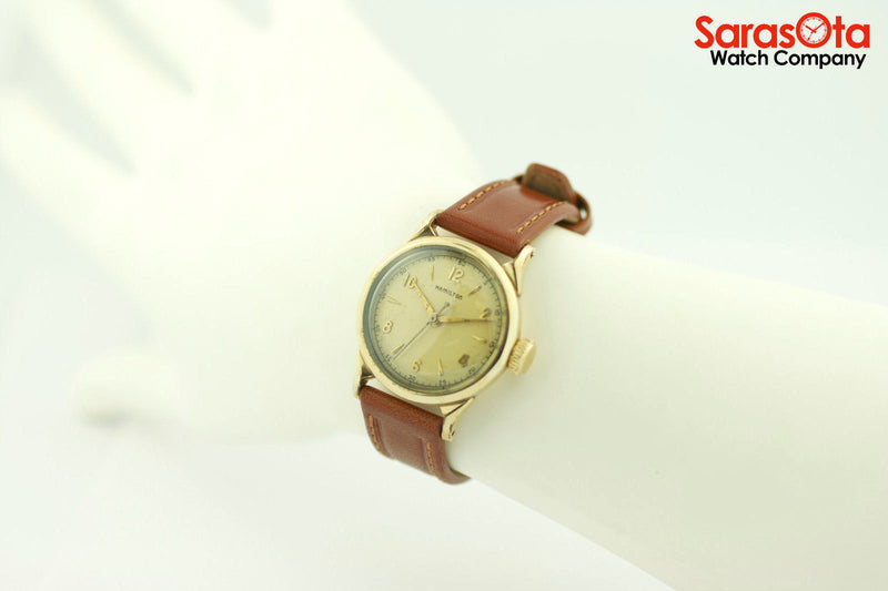Vintage Hamilton 10K Yellow Gold Filled Brown Leather Hand Winding Women's Watch