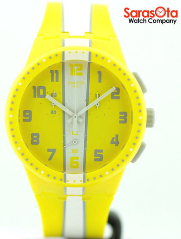Swatch Chronograph Yellow Strip Accented Rubber Strap Swiss Quartz Unisex Watch