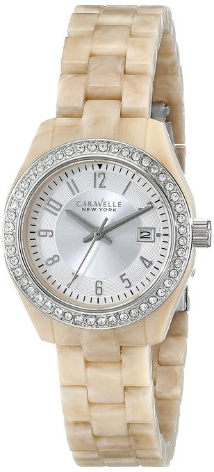 Caravelle New York 43M109 Plastic/Stainless Steel Silver Dial Quartz Women's Watch