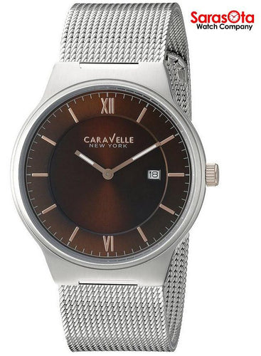 Caravelle New York 45B138 Brown Dial Stainless Steel Mesh Quartz Men's Watch