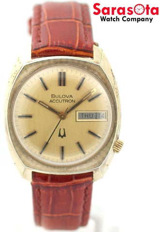 Vintage Bulova Accutron N6 Gold Plated Champagne Dial Day Date Men's Watch