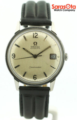 Vintage Omega Seamaster Swiss Automatic Silver Dial Leather Band Men's Watch