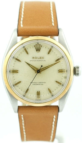 Vintage Rolex Oyster Perpetual 6564 Two Tone Case Leather Automatic Men's Watch