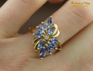 14K Yellow Gold Marquise Tanzanite Gem/Diamond Cluster Women's Ring Size 7 - Sarasota Watch Company
