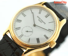 Patek Philippe 3923 18K Yellow Gold Hand Wind Dress Black Leather Unisex Watch