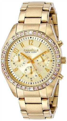 Caravelle New York 44L151 Crystal Bezel Stainless Steel Quartz Women's Watch
