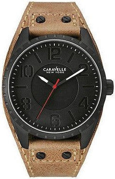 Caravelle New York 45B124 Brown Leather Black Dial Stainless Steel Men's Watch