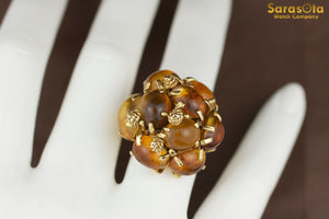 14K Yellow Gold Prong Set Amber Cluster Women's Ring Size 6.75
