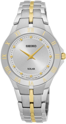 Seiko SUP308 Silver Dial Two Tone Stainless Steel Solar Quartz Women's Watch
