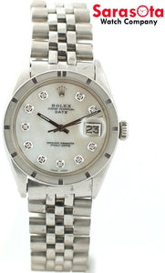 Vintage Rolex Date 1501 Mother Of Pearl Diamond Dial Stainless Steel Men's Watch